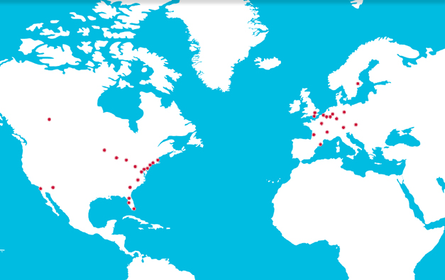 Map showing where clinical trials took place